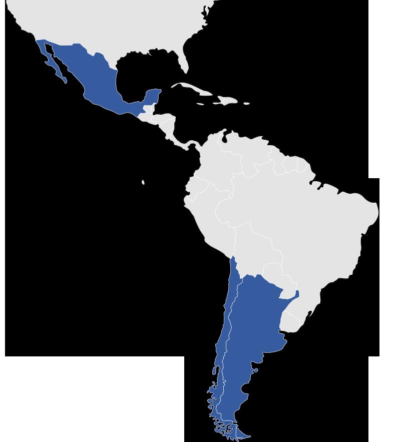 Presencia en México, Chile y Argentina